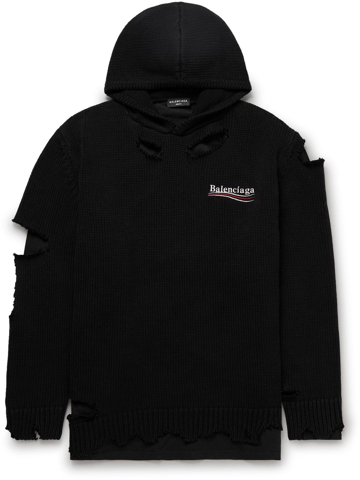 BALENCIAGA - Oversized Distressed Logo-Print Cotton Hoodie - Black