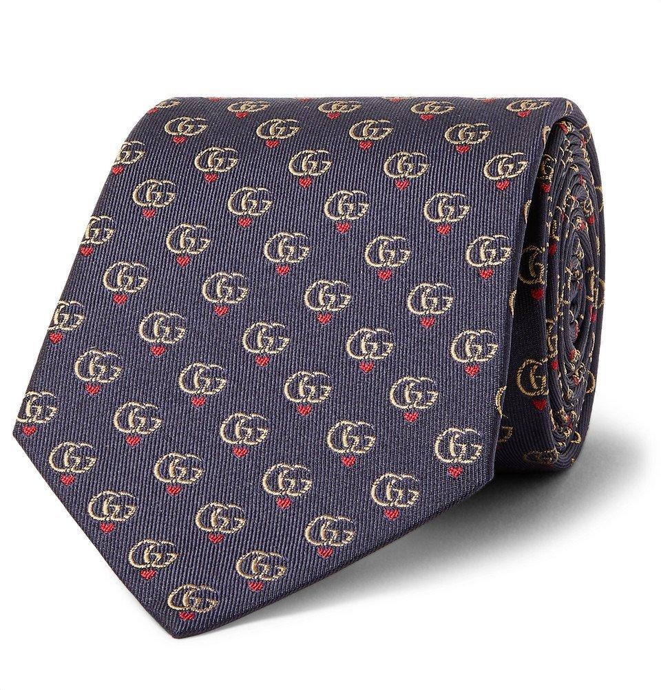 Photo: Gucci - 7.5cm Logo-Jacquard Silk-Twill Tie - Navy