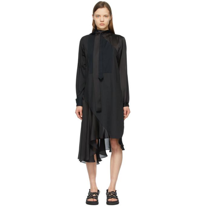 Sacai Black Paneled Shirt Dress