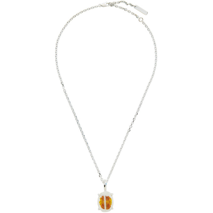 Photo: SWEETLIMEJUICE SSENSE Exclusive Silver and Yellow Denim Oval Necklace