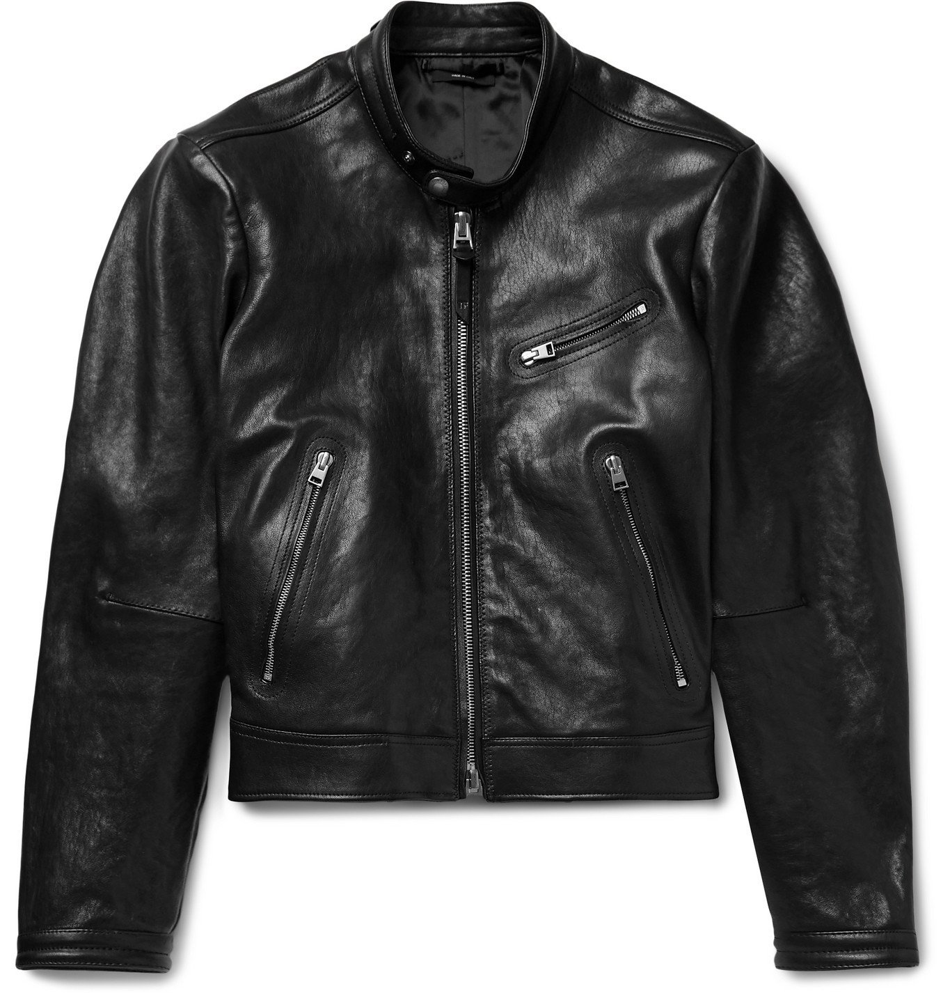 Photo: TOM FORD - Slim-Fit Leather Biker Jacket - Black