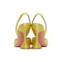 Amina Muaddi Yellow Satin Begum Slingback Heels