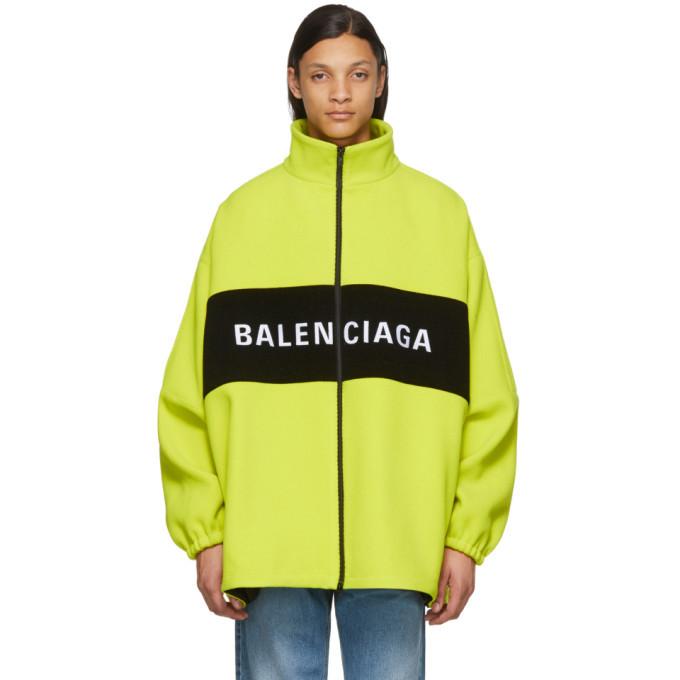 Photo: Balenciaga Yellow Wool Logo Zip-Up Jacket