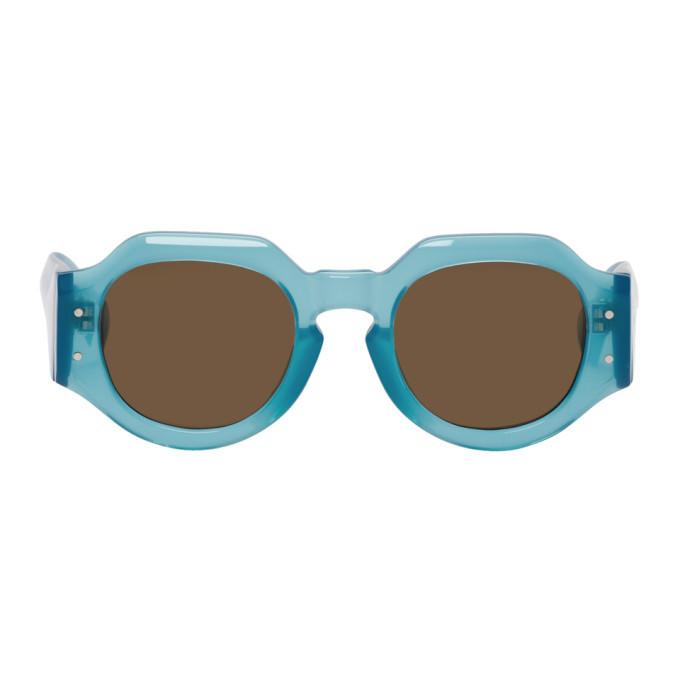 Photo: Dries Van Noten Blue Linda Farrow Edition 174 C7 Angular Sunglasses