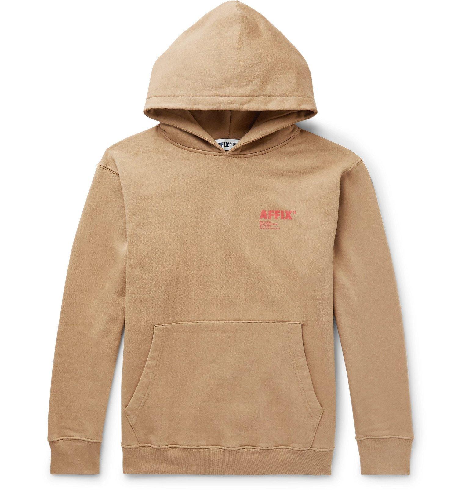 Photo: AFFIX - Logo-Print Fleece-Back Cotton-Jersey Hoodie - Brown