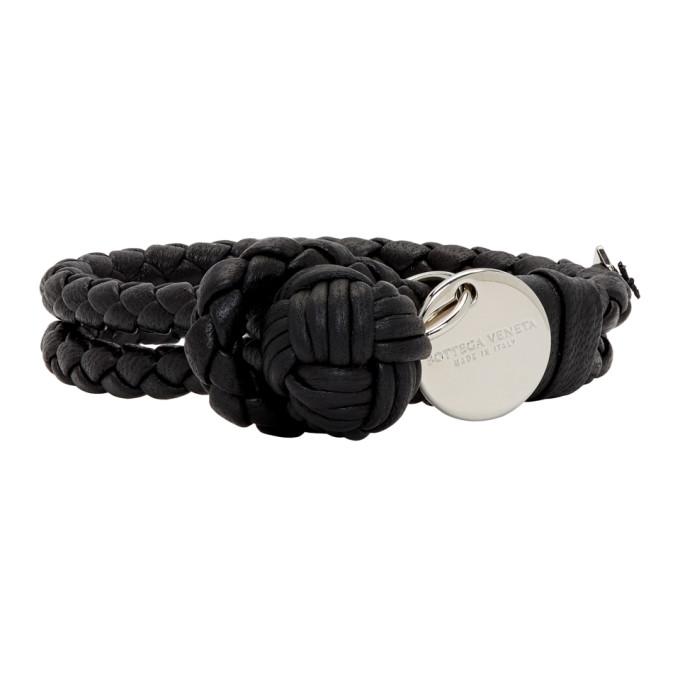 Photo: Bottega Veneta Black Intrecciato Knot Bracelet