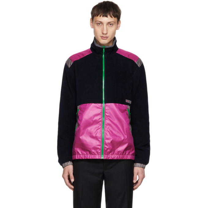 Photo: Lanvin Navy and Pink Mix Fabric Jacket