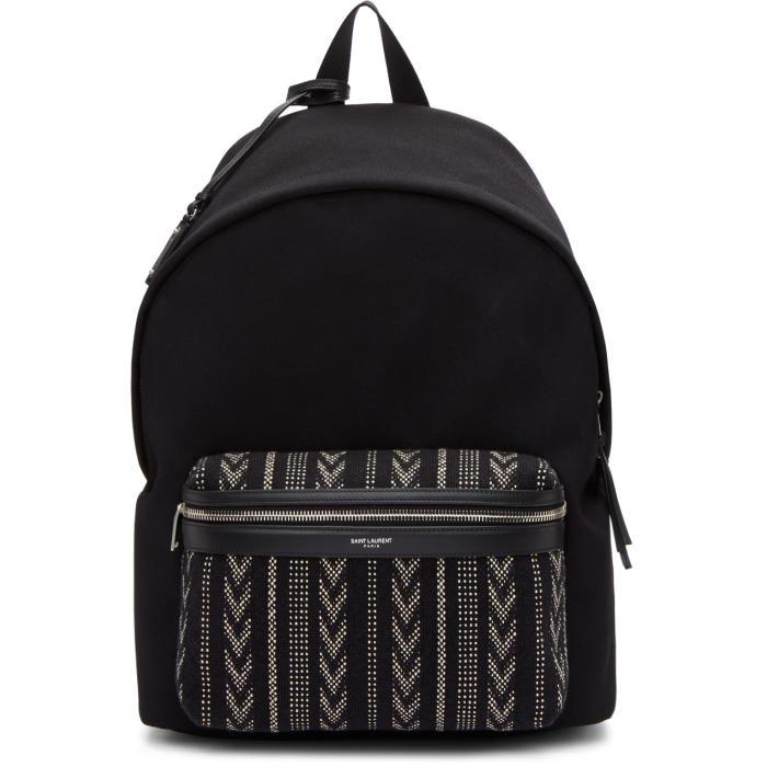 Photo: Saint Laurent Black Ikat City Backpack
