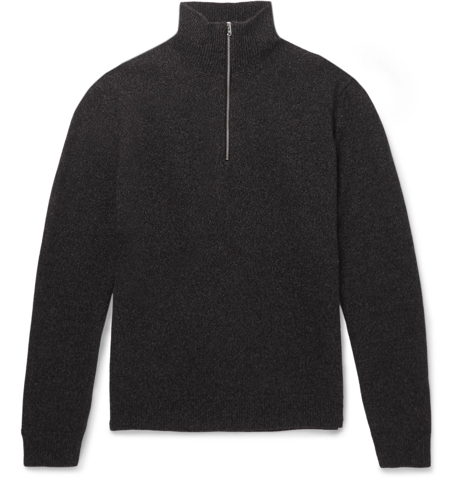 Photo: Norse Projects - Fjord Slim-Fit Mélange Merino Wool Half-Zip Sweater - Gray