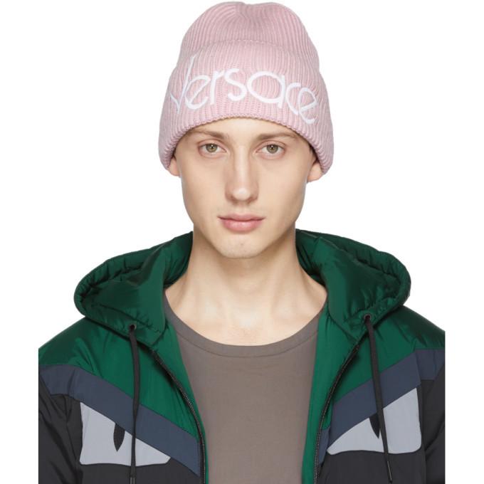 Photo: Versace Pink Wool Logo Beanie