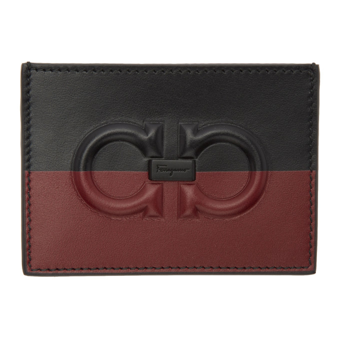 Photo: Salvatore Ferragamo Black and Red Two Tone Logo Card Holder