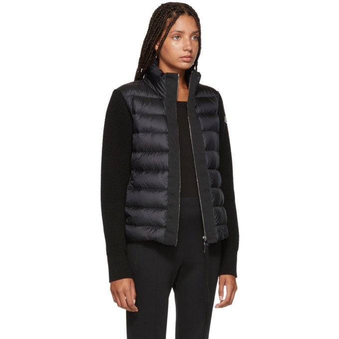 Moncler Black Knit and Down Jacket