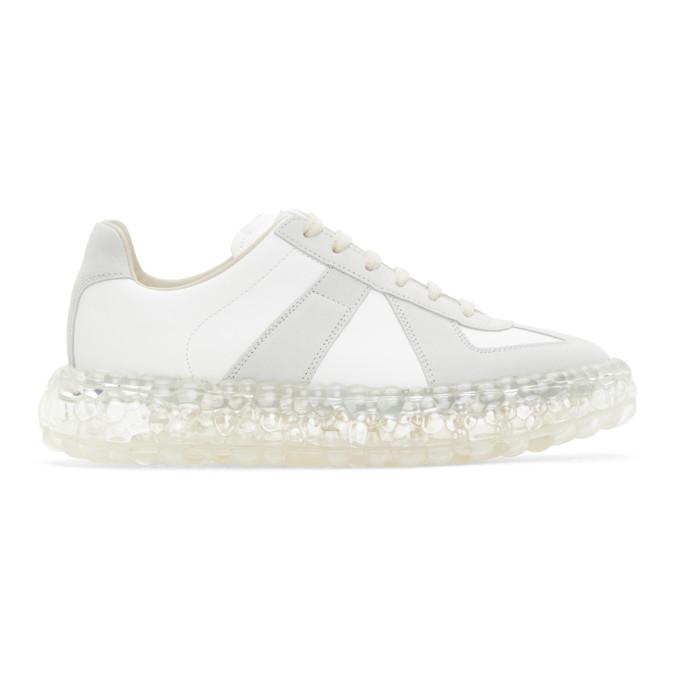 Photo: Maison Margiela White and Grey Caviar Replica Sneakers