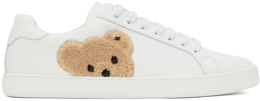 Photo: Palm Angels White Teddy Bear Tennis Sneakers
