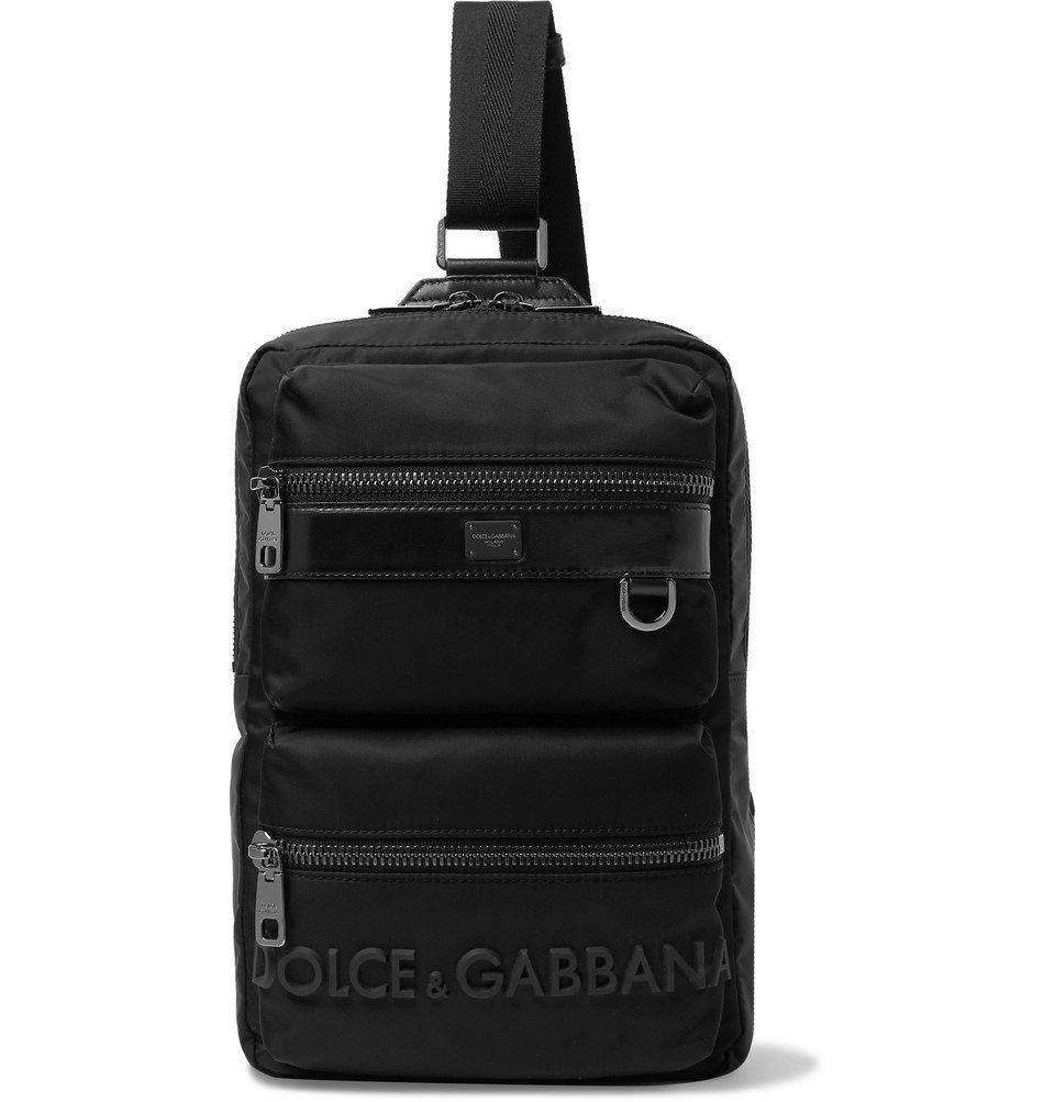 Photo: Dolce & Gabbana - Logo-Detailed Leather-Trimmed Canvas Backpack - Black