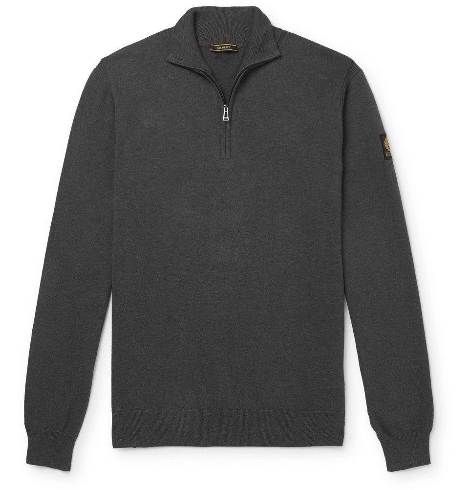 Belstaff - Bay Mélange Cotton and Silk-Blend Half-Zip Sweater - Charcoal