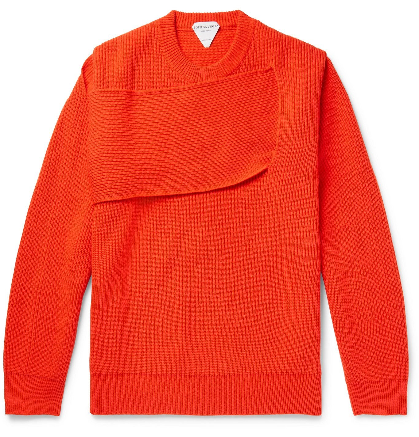 Photo: Bottega Veneta - Panelled Ribbed Cashmere-Blend Sweater - Orange