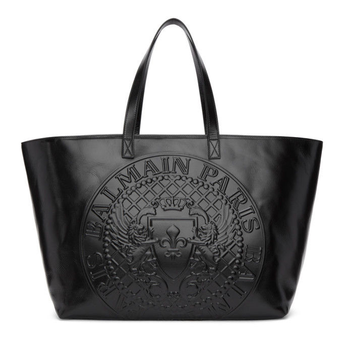 Photo: Balmain Black Logo Shopping Horizontal Tote