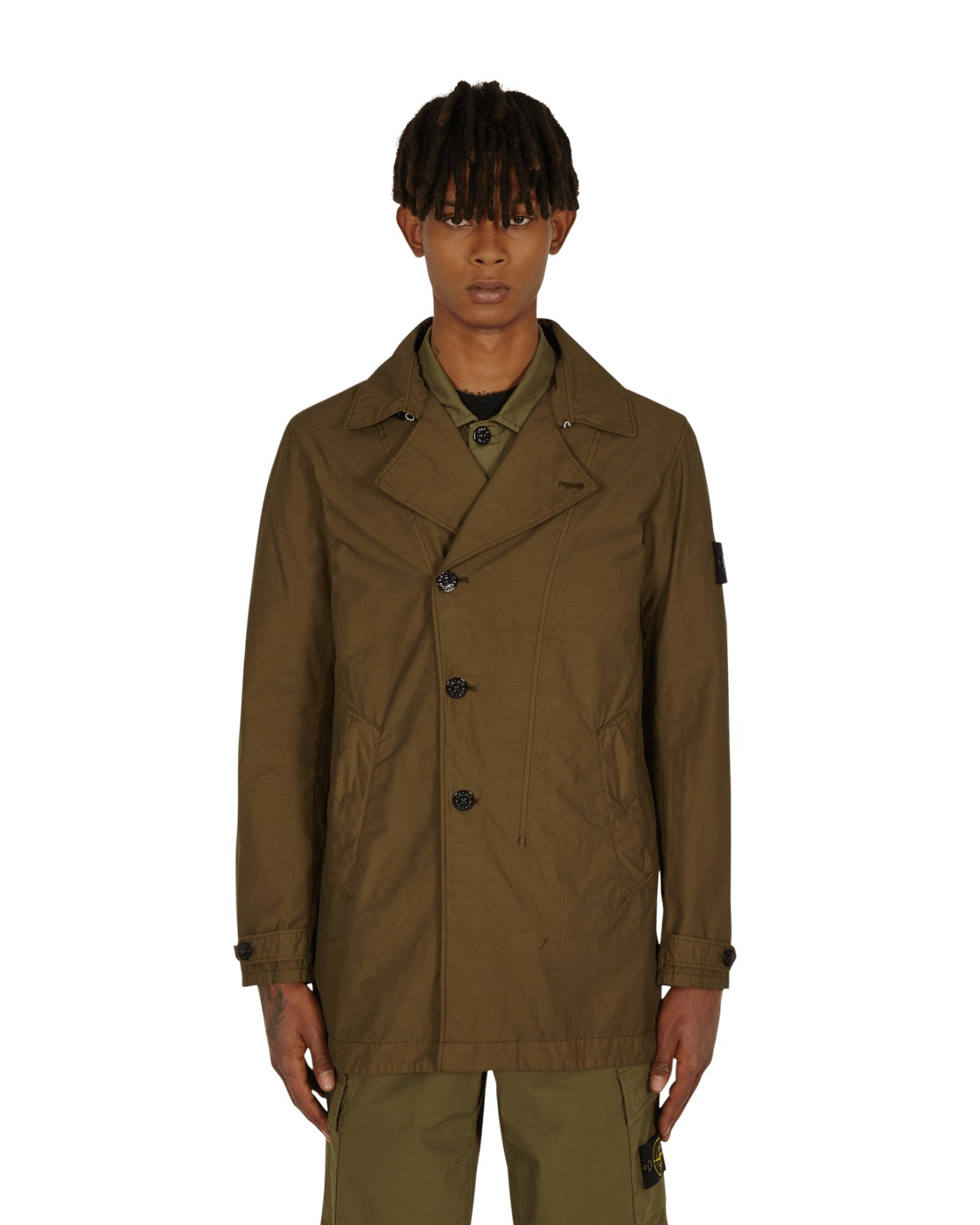 Photo: Stone Island Naslan Light Watro Trench Coat Olive