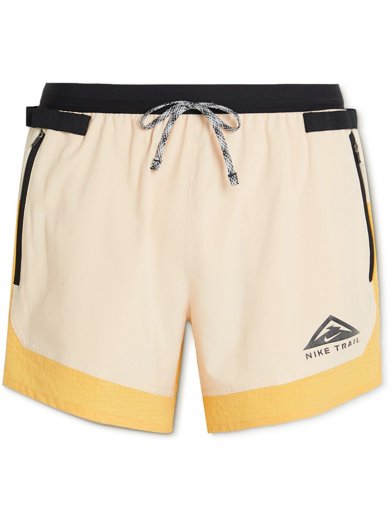 Photo: NIKE RUNNING - Flex Stride Colour-Block Dri-FIT Ripstop Shorts - Yellow