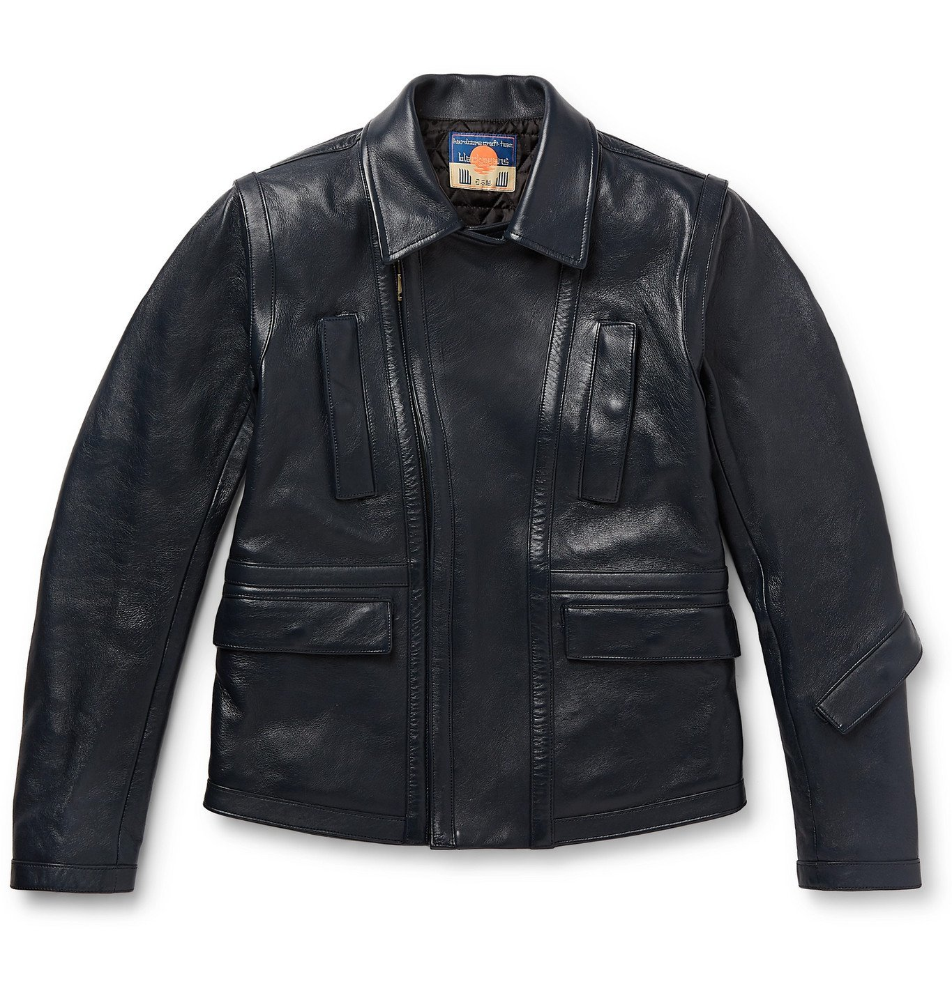 Photo: Blackmeans - Slim-Fit Leather Biker Jacket - Blue