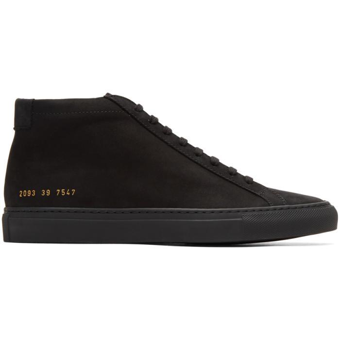 Common Projects Black Nubuck Original Achilles Mid Sneakers