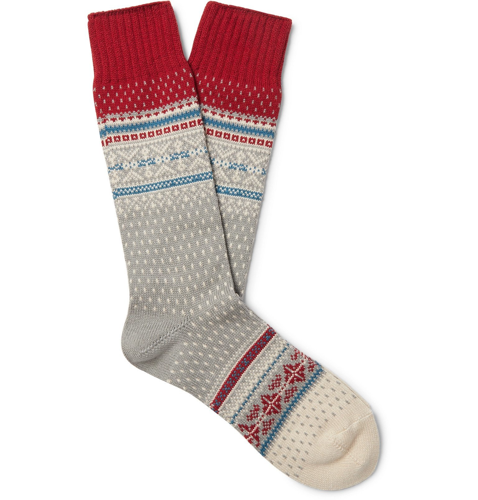 Photo: Beams Plus - Nordic Fair Isle Knitted Socks - Gray