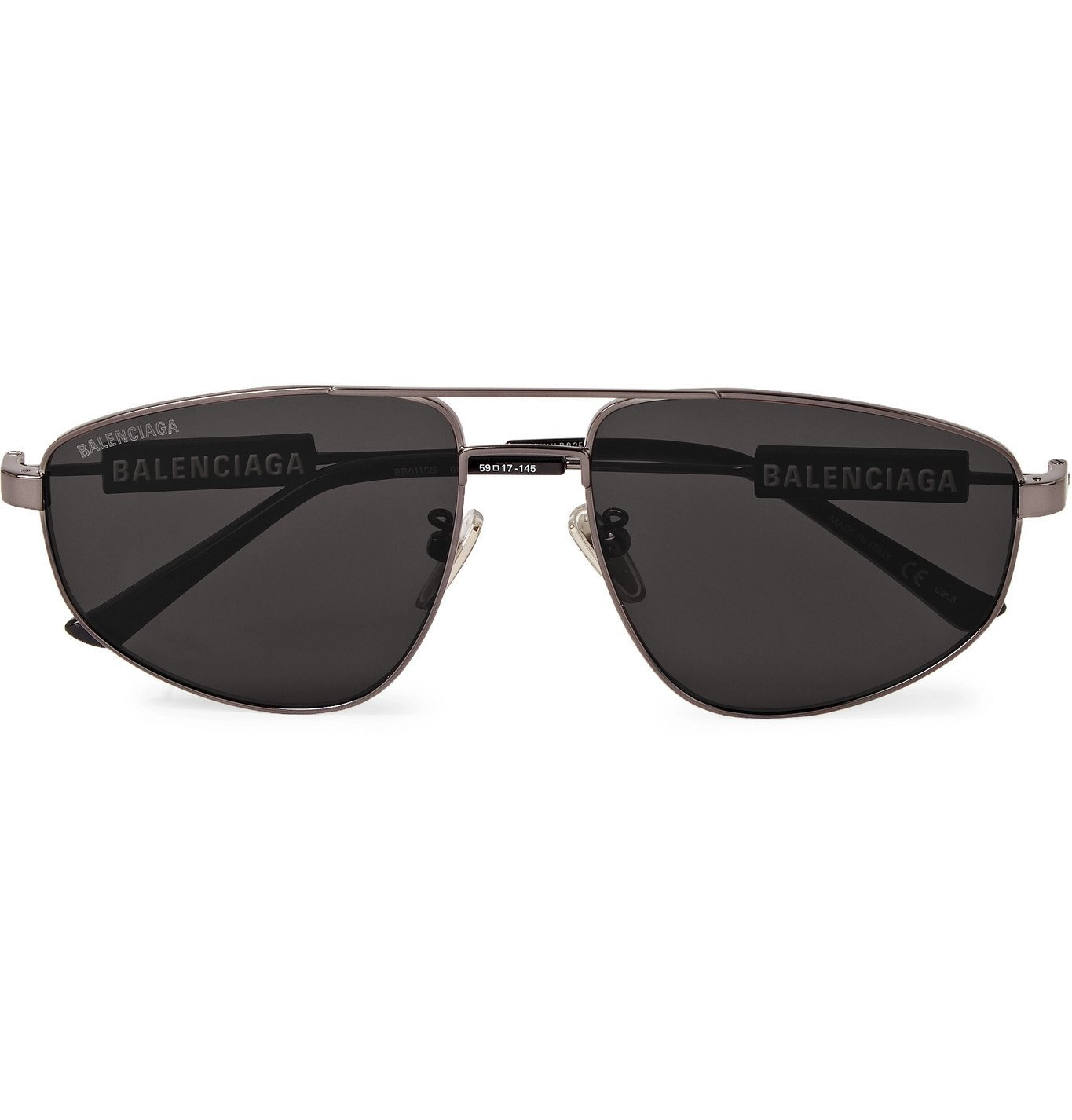 Photo: Balenciaga - Aviator-Style Logo-Detailed Gunmetal-Tone Sunglasses - Gray