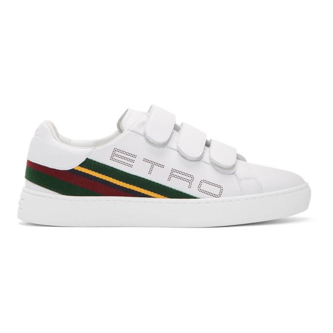 Photo: Etro White Stripe Logo Trainer Sneakers