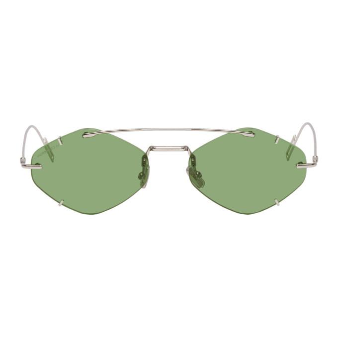 Photo: Dior Homme Silver and Green DiorInclusion Sunglasses