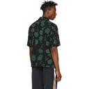 Aries Black and Green Rose Bowling Shirt