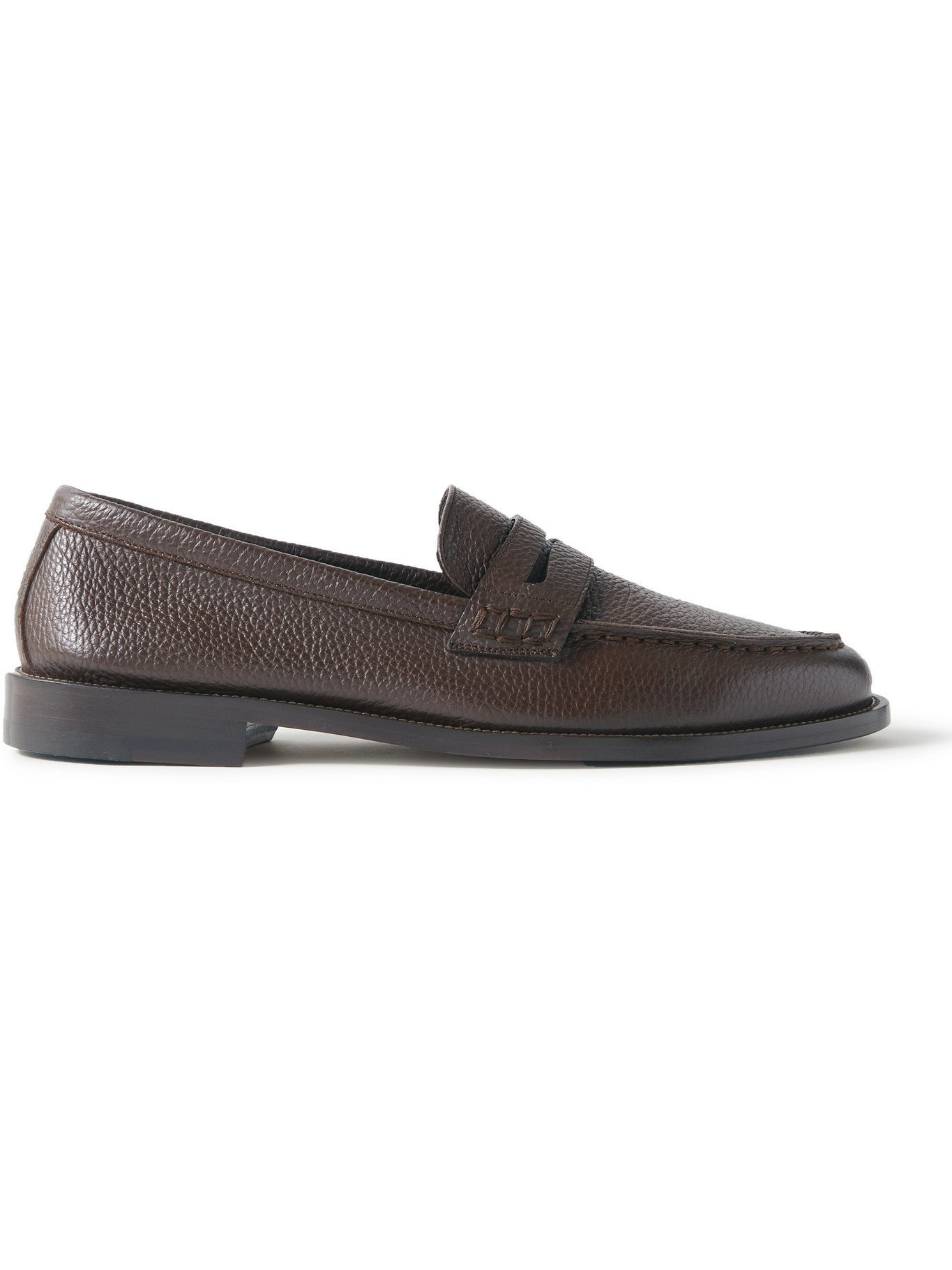 Photo: MANOLO BLAHNIK - Perry Full-Grain Leather Penny Loafers - Brown - UK 7