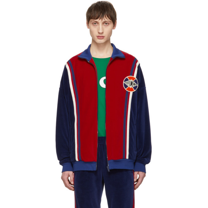 Photo: Gucci Blue and Red Velour Oversized Track Jacket
