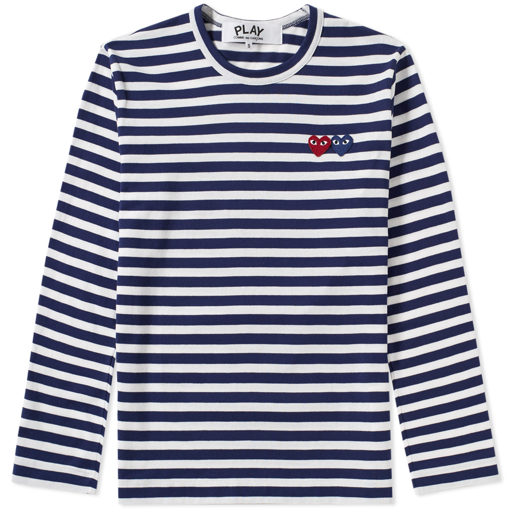 Photo: Comme des Garcons Play Double Heart Long Sleeve Stripe Tee
