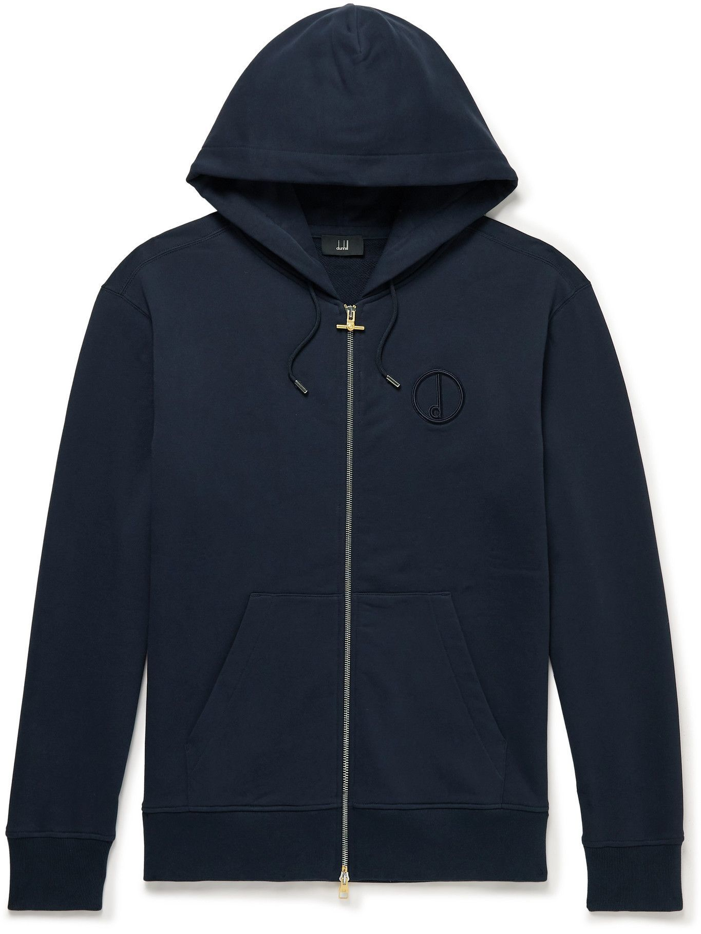 Dunhill - Logo-Embroidered Cotton-Jersey Zip-Up Hoodie - Blue
