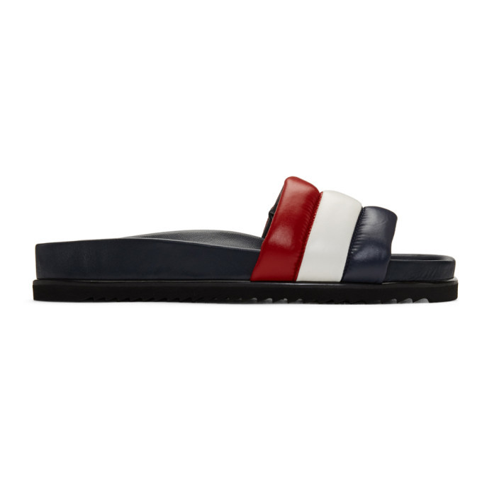 Photo: Thom Browne Navy and Red Quilted Pool Slides