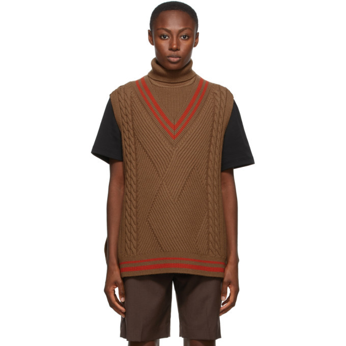 Photo: ADER error Brown Oversized Knit Sleeveless Turtleneck