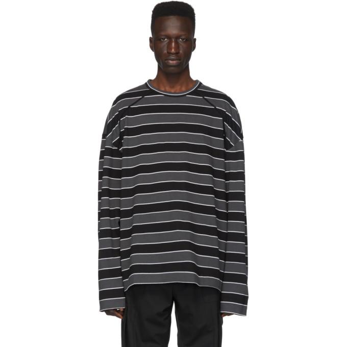 Photo: Juun.J Black Striped Long Sleeve T-Shirt
