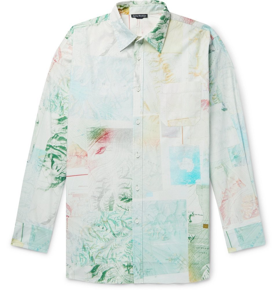 Photo: Acne Studios - Oversized Printed Cotton-Poplin Shirt - Green