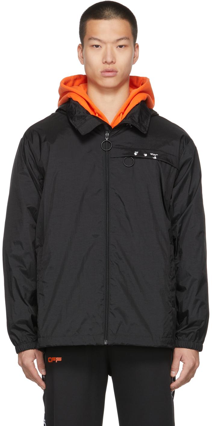 Photo: Off-White Black Nylon Ripstop Logo Windbreaker Jacket