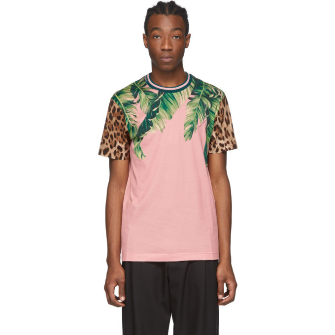 Photo: Dolce and Gabbana Pink Floral Leopard T-Shirt