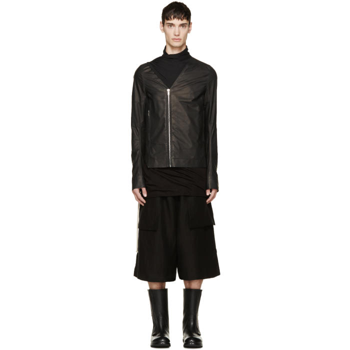 Photo: Rick Owens Black Sliced Biker Jacket