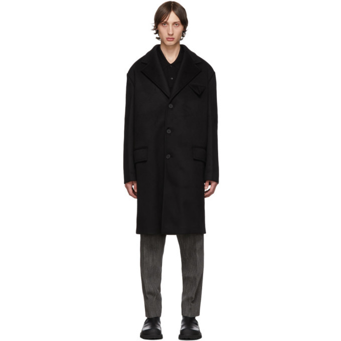 Photo: Bottega Veneta Black Bonded Cashmere Coat