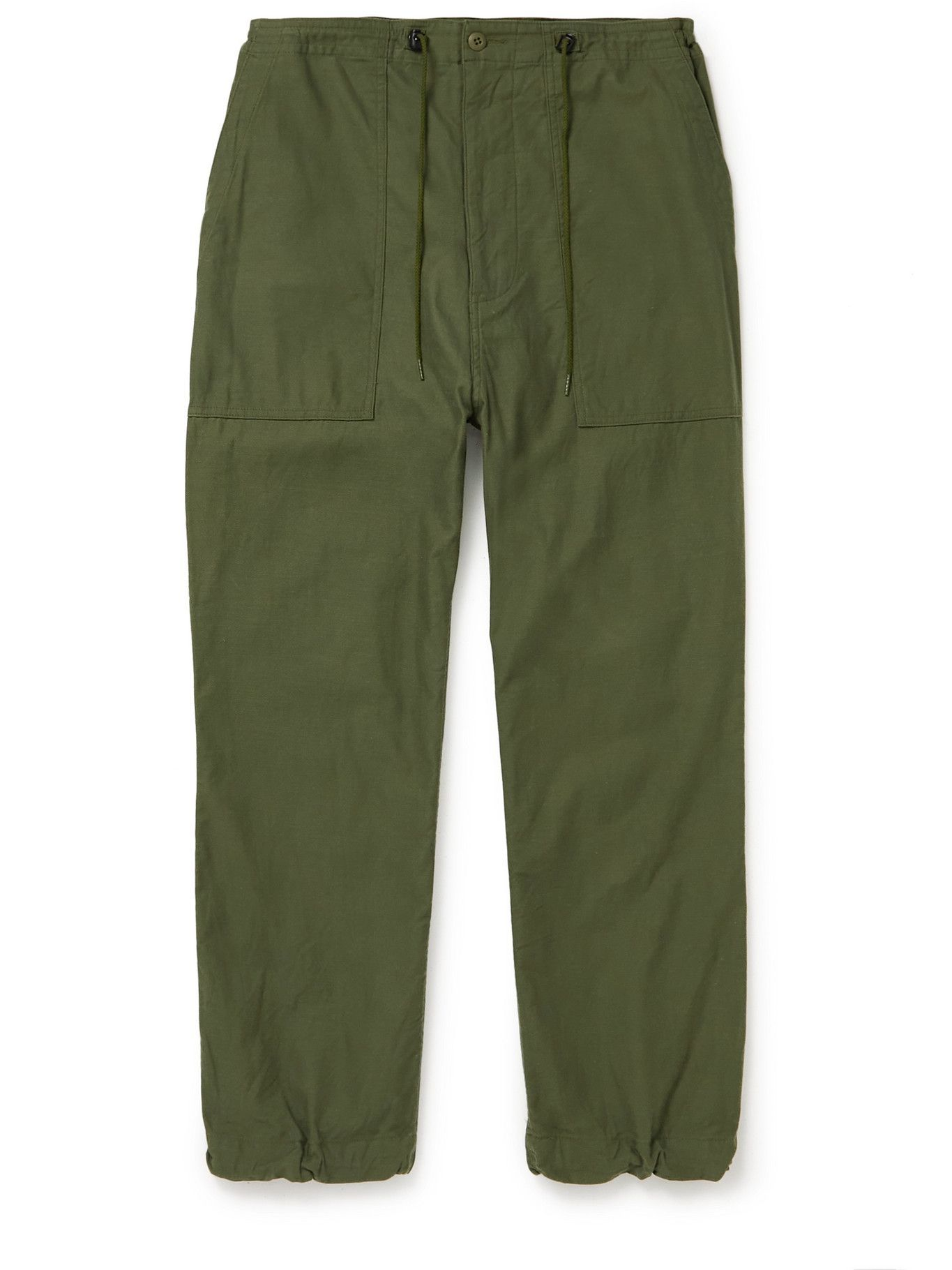 Photo: Needles - Tapered Cotton-Canvas Drawstring Trousers - Green