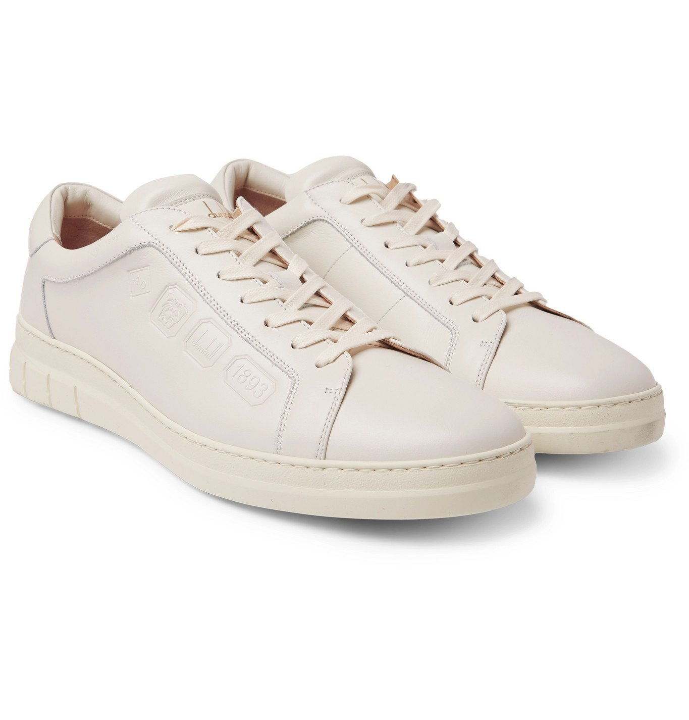 Dunhill - Hallmark Embossed Leather Sneakers - White