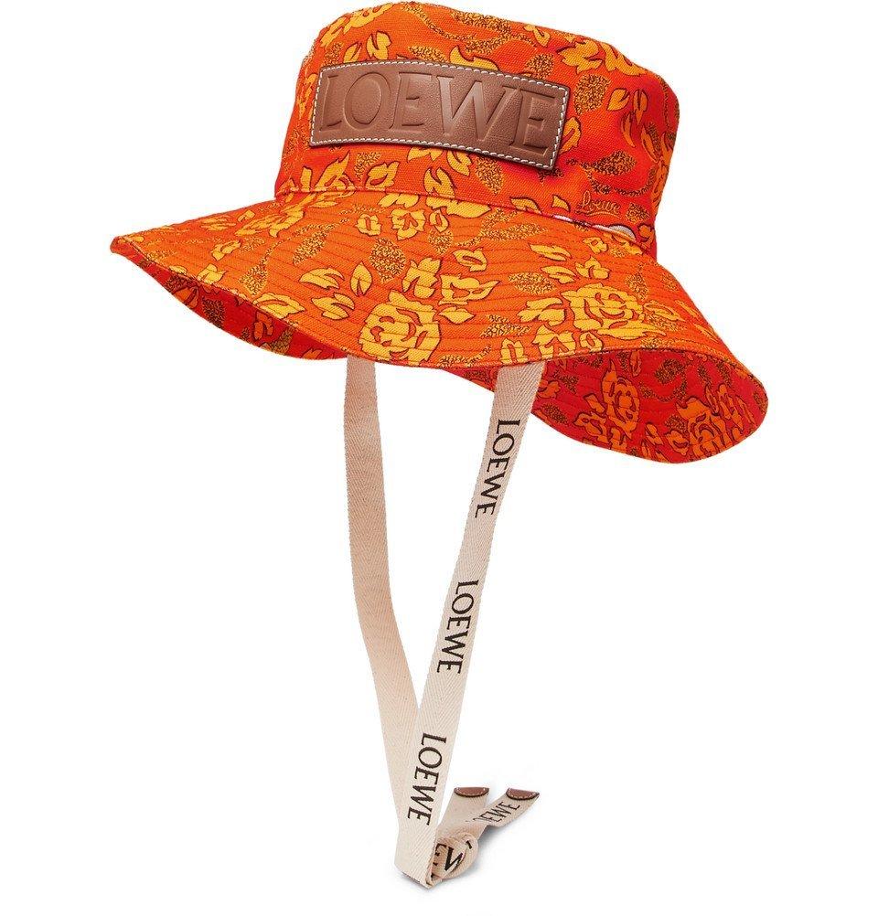 Photo: Loewe - Paula's Ibiza Leather-Appliquéd Printed Cotton-Canvas Bucket Hat - Orange