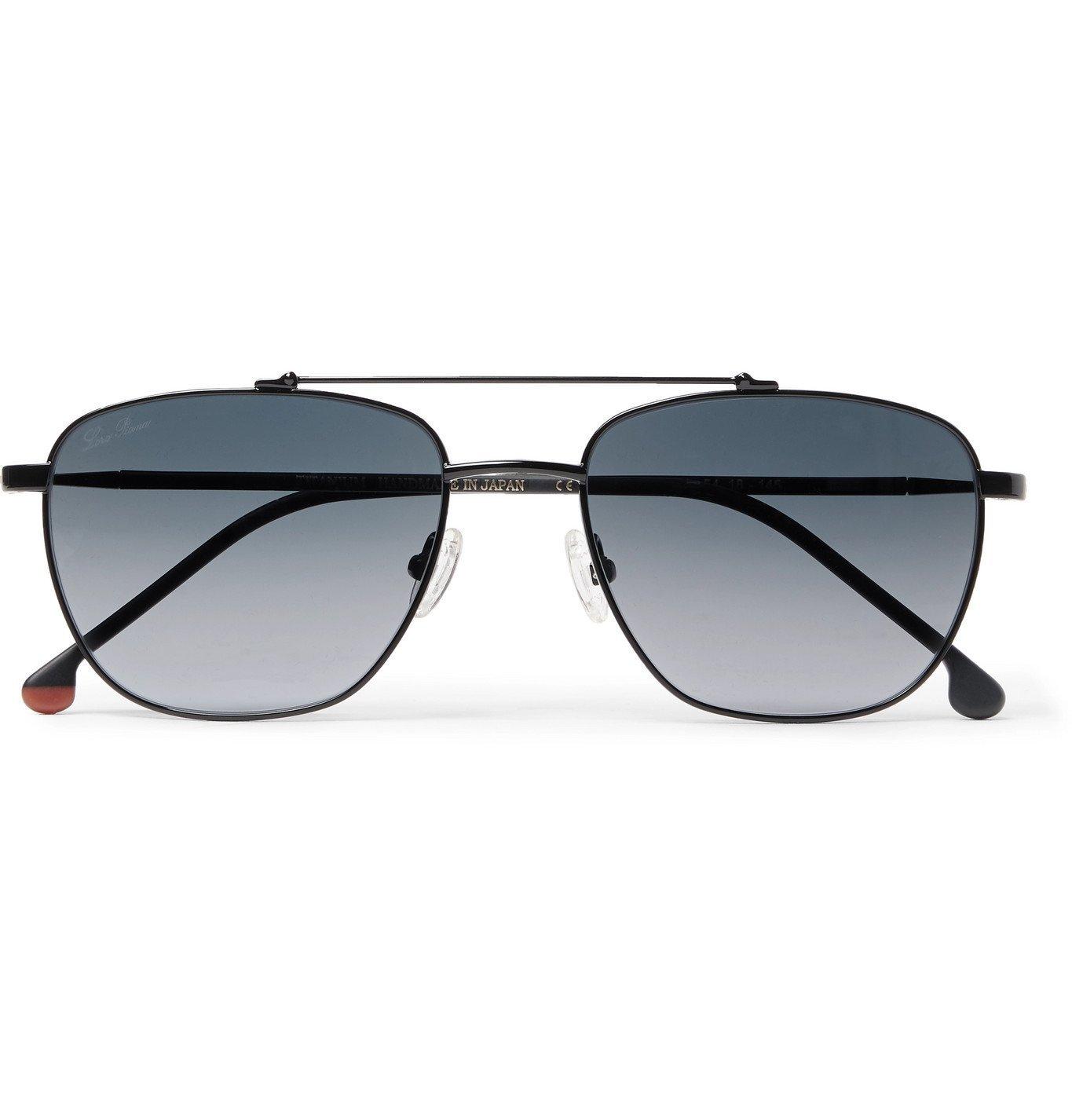 Photo: Loro Piana - Open Aviator-Style Gold-Tone Titanium and Tortoiseshell Acetate Polarised Sunglasses - Black