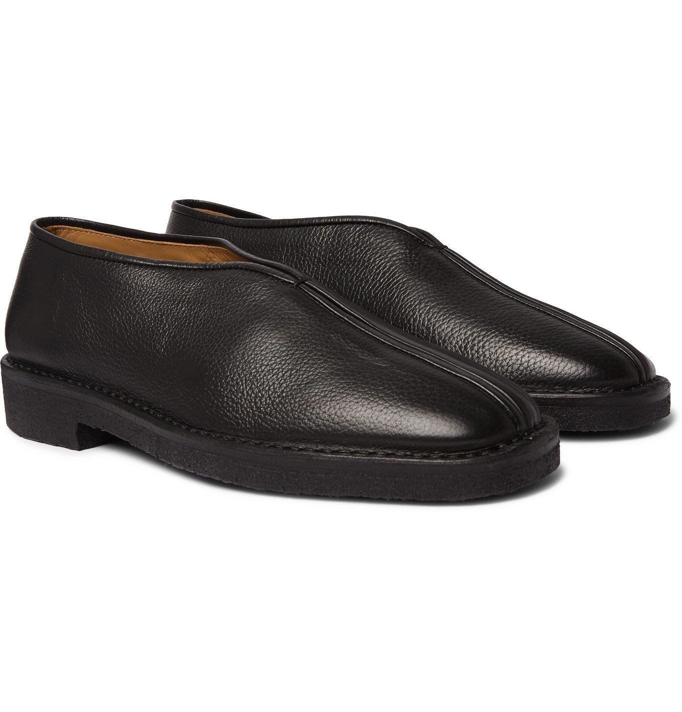 Photo: Lemaire - Full-Grain Leather Slippers - Black