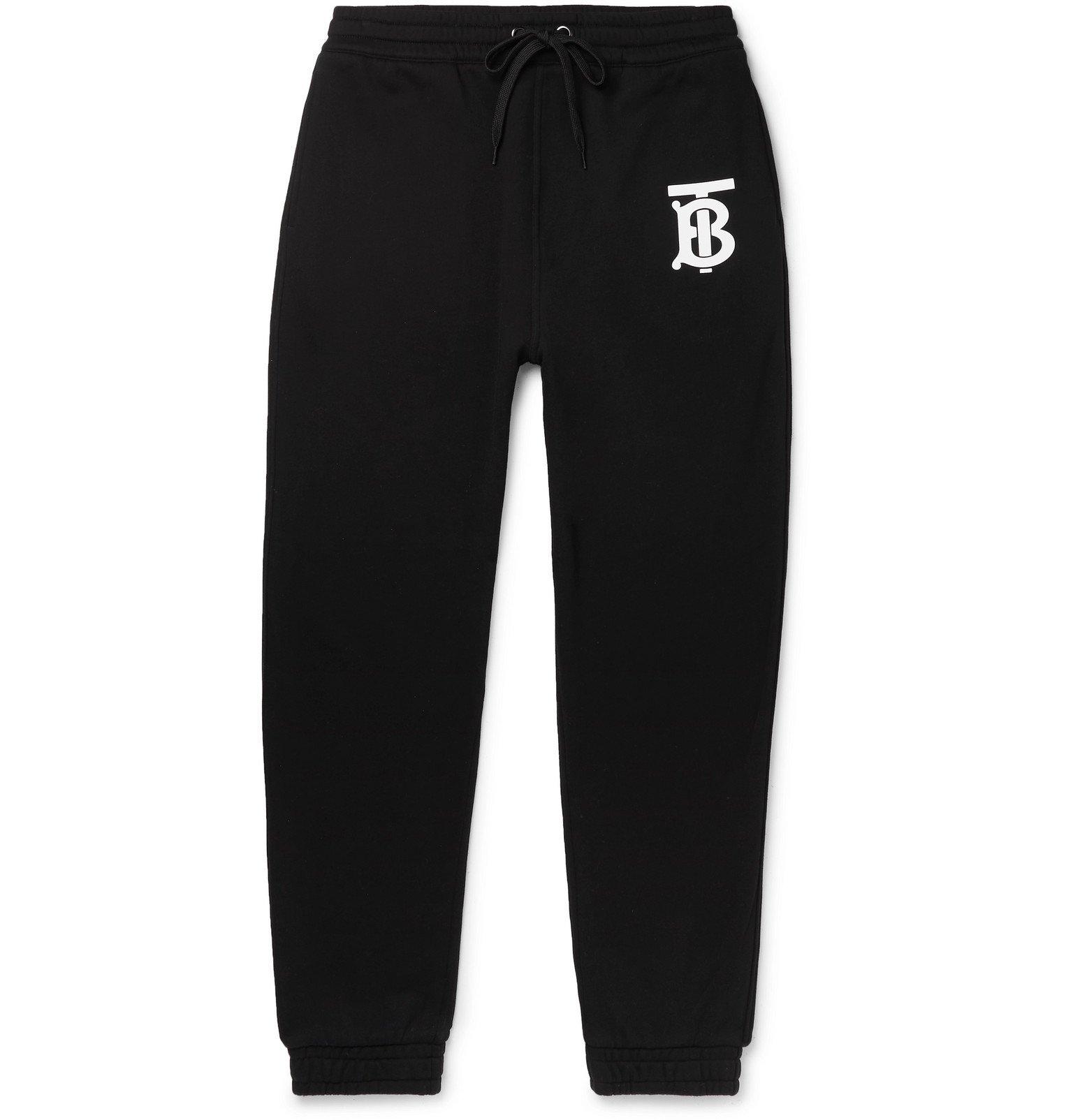 Photo: Burberry - Tapered Logo-Print Loopback Cotton-Jersey Sweatpants - Black