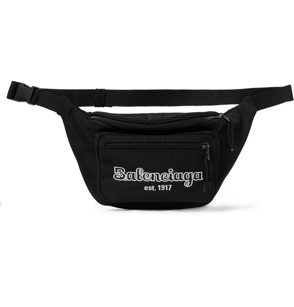 Photo: Balenciaga - Logo-Embroidered Canvas Belt Bag - Black